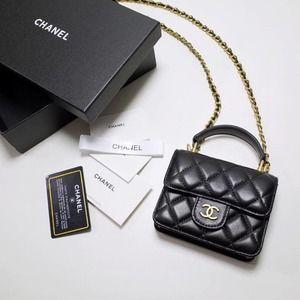 CHANEI🌸✨C.C CHAIN MINI FLAP BAG TOP HANDLE Wallet Accessories Purse